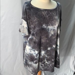 Super Soft Tie Dye Shirt with Ruffled Sleeves XL